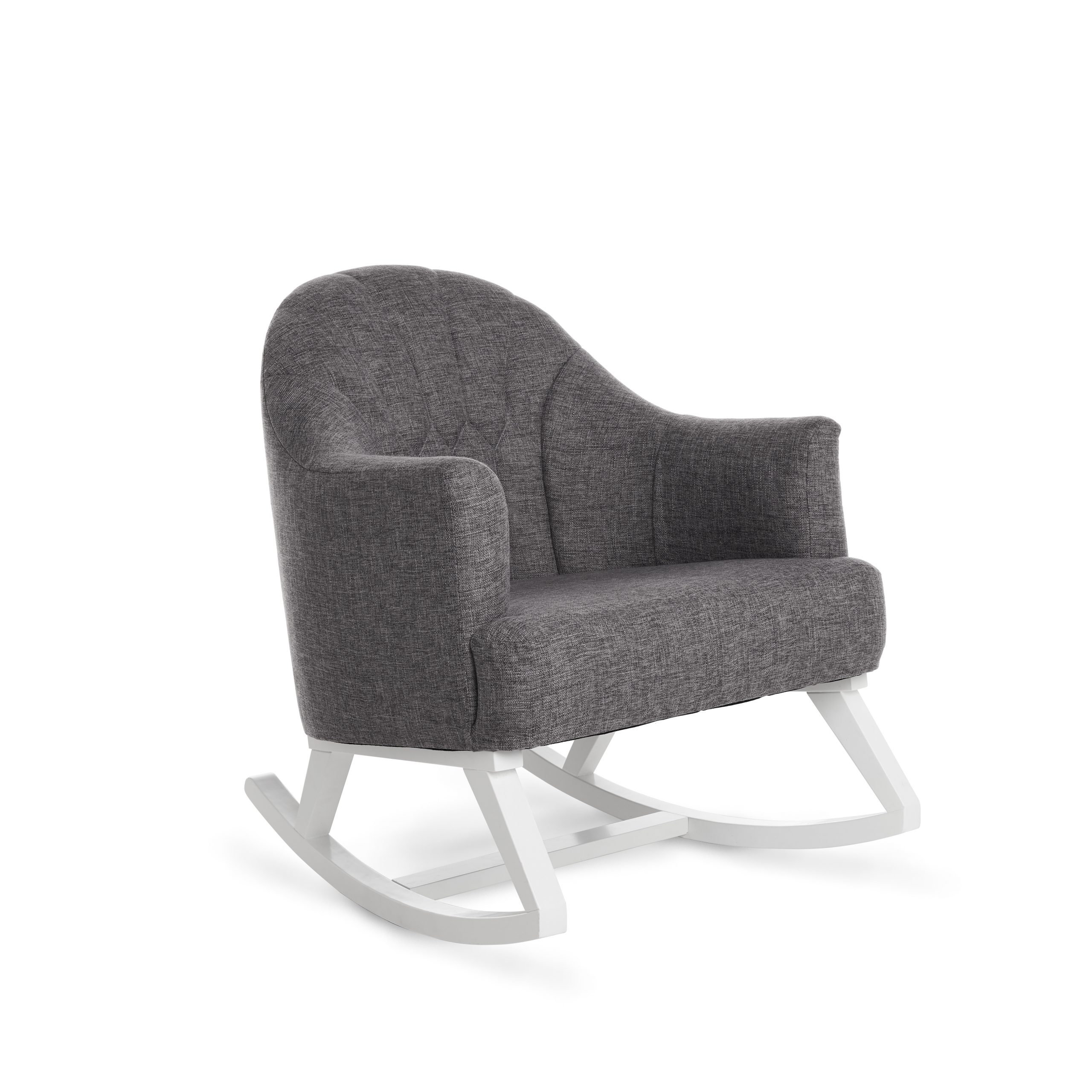 Round Back Rocking Chair White with Grey Padded Seat