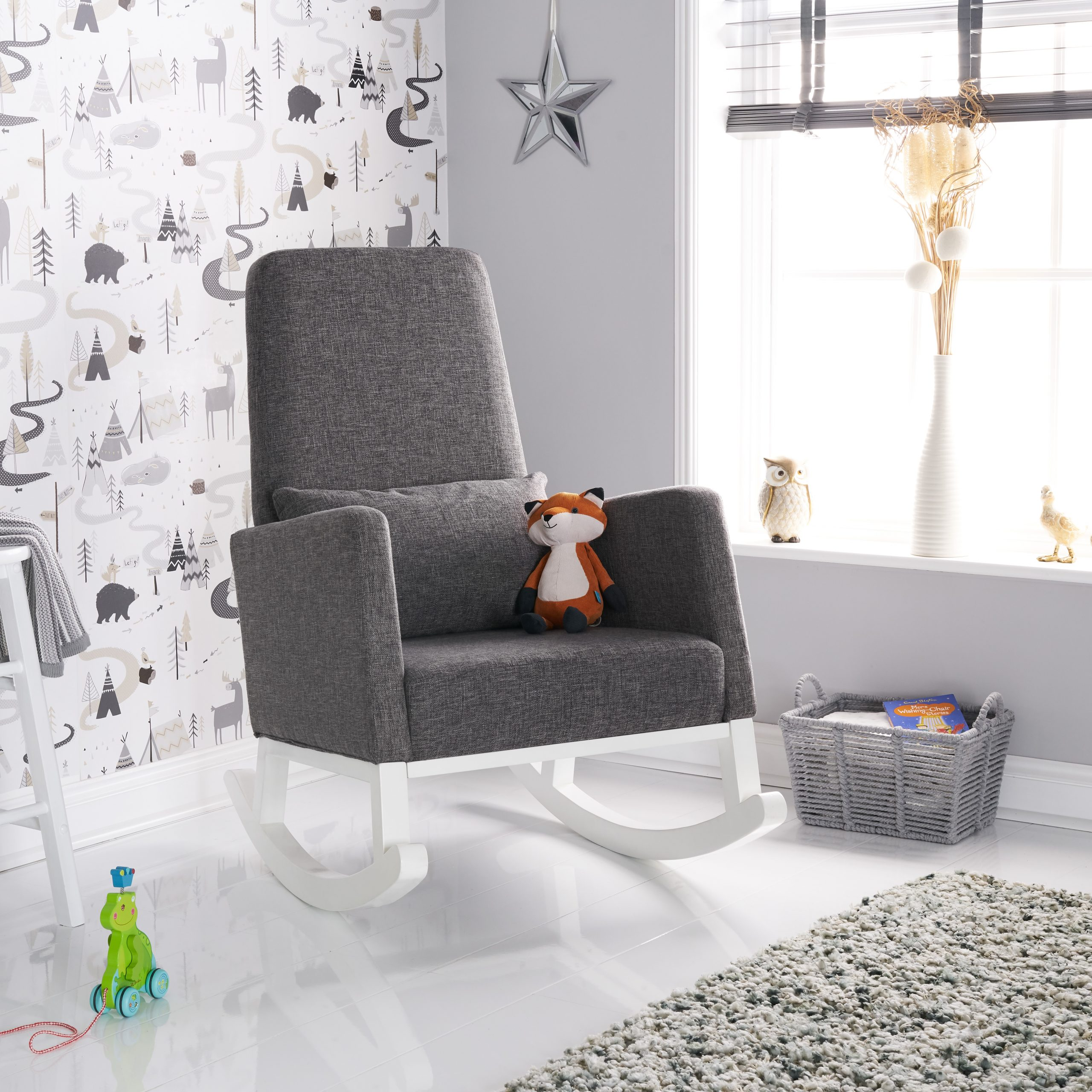 High Back Rocking Chair White with Grey Cushion