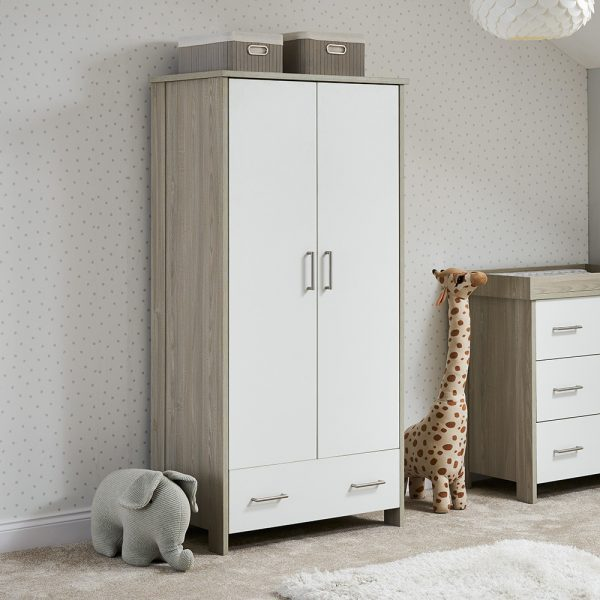 Nika Wardrobe - Grey Wash with White