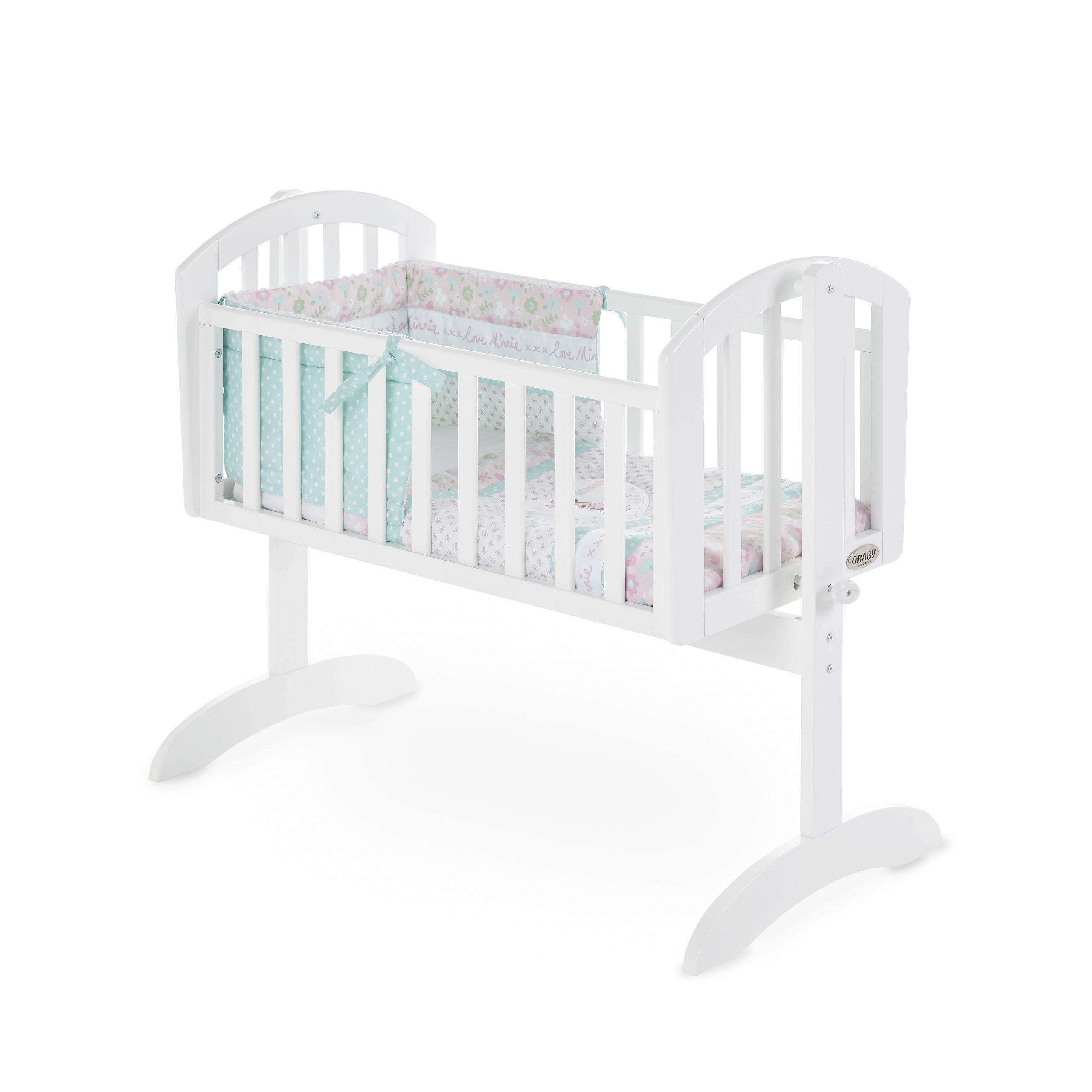 Sophie Swinging Crib White Bundle Crib Mattress Bedding Obaby