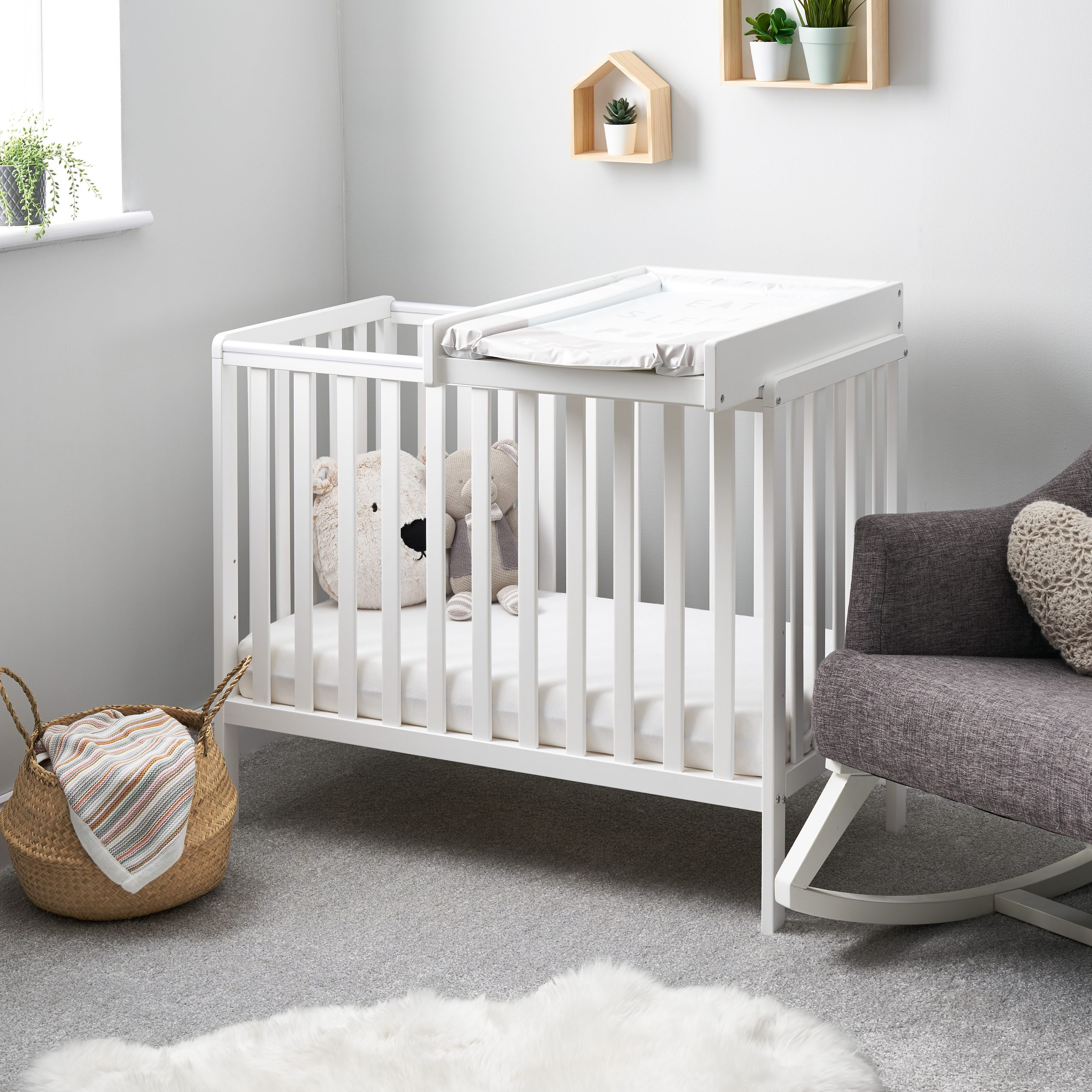 Picture of: Bantam Space Saver Cot Cot Top Changer White Obaby